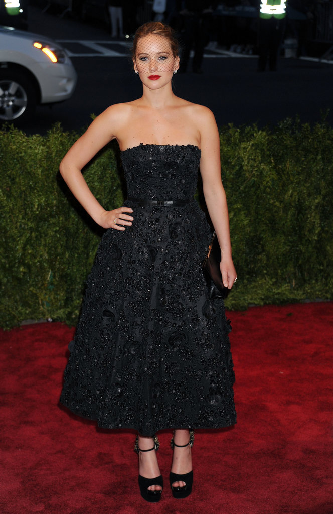Jennifer Lawrence in Black Dior Cocktail Dress