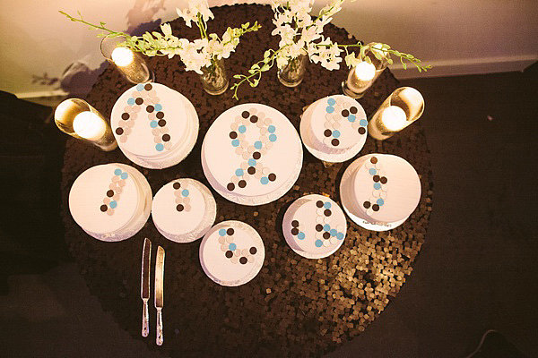 This industrial chic wedding used sugar buttons to create a bold design for a fun overhead effect.  Photo by The Photography of Haley Sheffield via Ruffled Blog