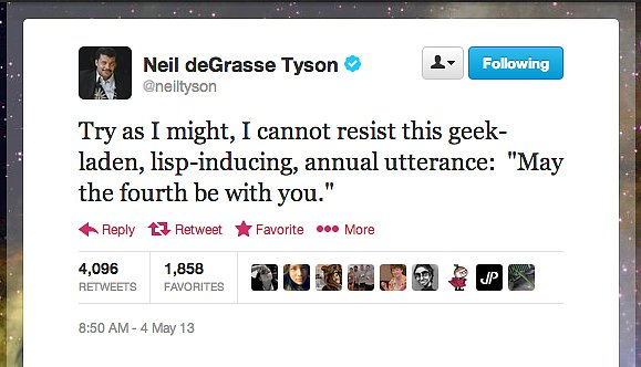 StarTalk Radio host Neil deGrasse Tyson cannot resist the Force.