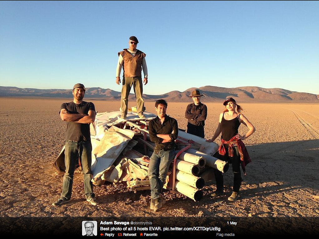 Epic! Adam Savage shared this photo of all five hosts of MythBusters in, fittingly, some nondescript desert terrain.