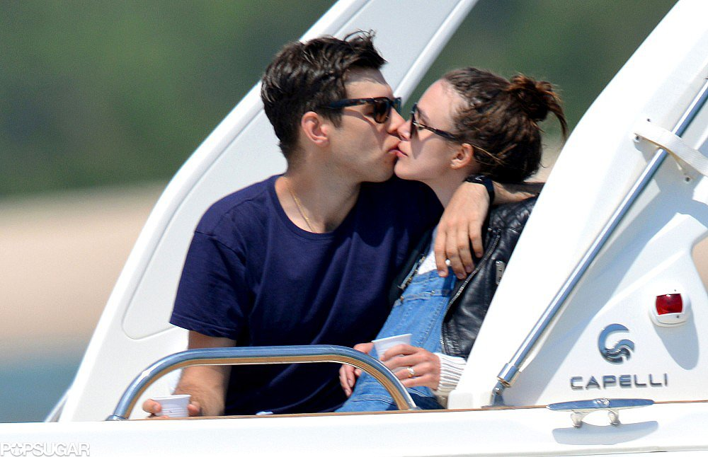 Keira Knightley and James Righton shared a kiss on a boat.
