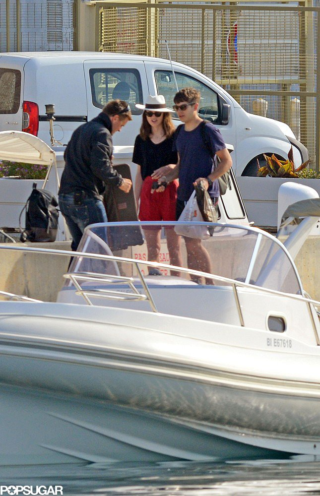 Keira Knightley and James Righton got onto a private boat.