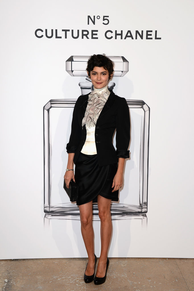 Audrey Tautou at the N°5 Culture Chanel exhibition in Paris.