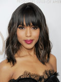 Although Kerry usually wears her bangs pulled back or sideswept, she tried something new at the Producers Guild Awards with blunt fringe and beachy waves. Her red lipstick made her overall look more formal.