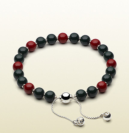 Bracelet With Green And Red Wooden Beads