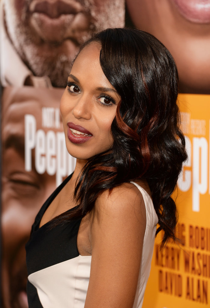 For the premiere of her latest film, Peeples, Kerry Washington wore her hair in cascading waves accented with red streaks.