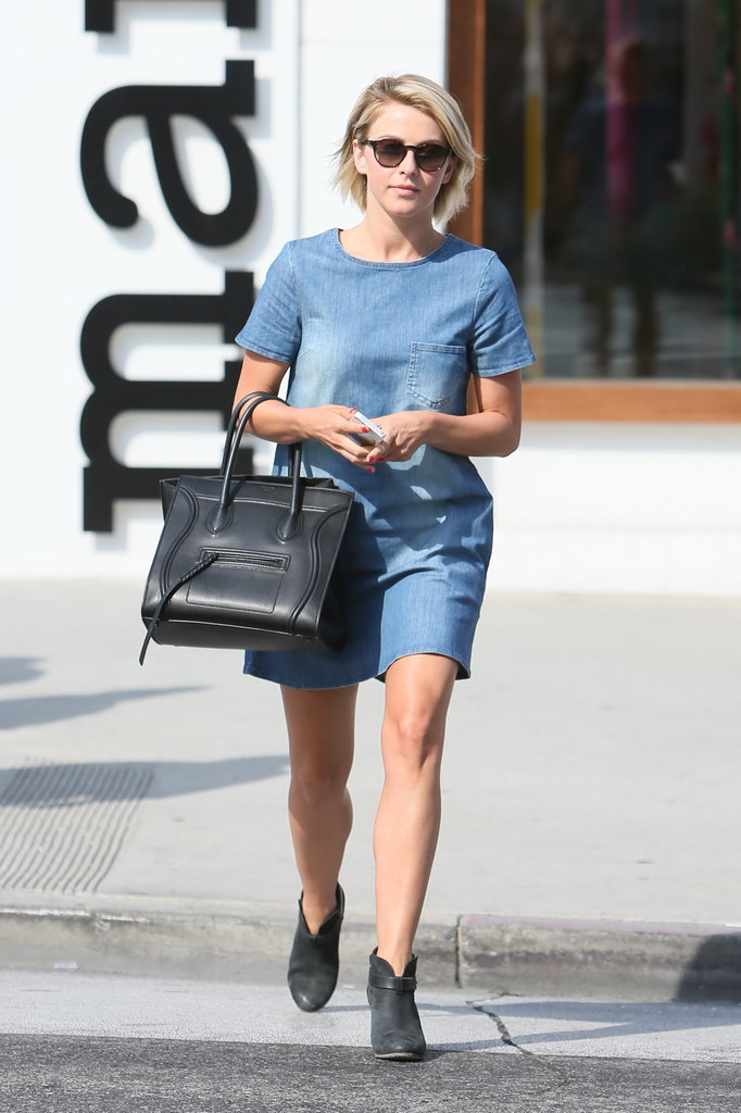 Julianne Hough gave her denim dress the subversive treatment with Céline's black luggage tote and Rag & Bone booties.