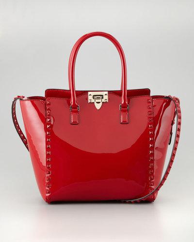 Valentino Punkouture Studded Patent Tote Bag, Red