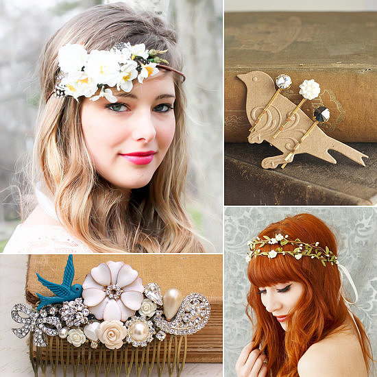 No matter your length, the easiest way to dress up your wedding day hair is with a gorgeous hair accessory. From dainty pins to lavish combs, inspiring vines, and birdcage veils, POPSUGAR Beauty found 50 special accessories from Etsy to match your style.