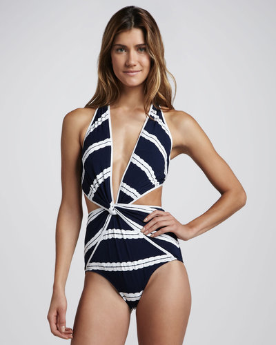 Oscar de la Renta Striped Twist-Front One-Piece Swimsuit