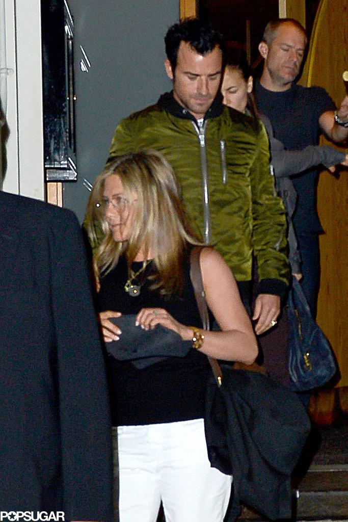 Jennifer Aniston wore her new glasses to dinner.
