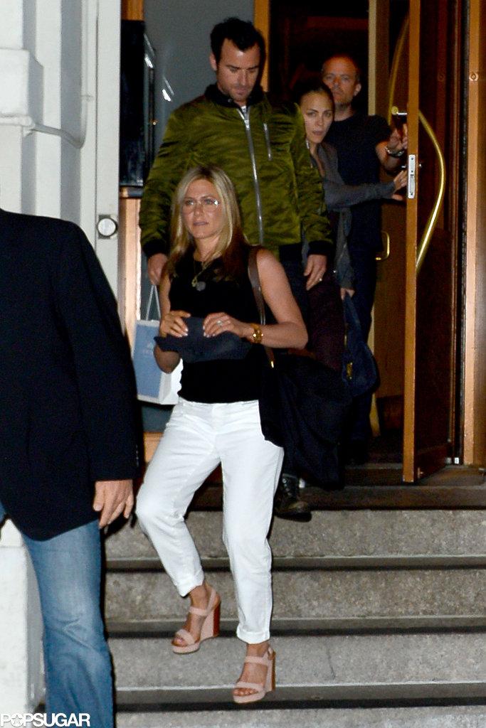 Jennifer Aniston and Justin Theroux exited Nobu.