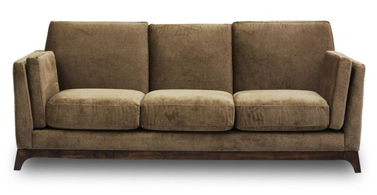 We love the handsome wooden base of the Ceni Umber Sofa ($1,380), and despite its sleek, clean lines, it looks incredibly comfortable.
