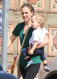Natalie Portman carried her son, Aleph, to a friend's house in LA.