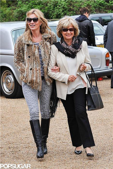 Kate Moss walked with her mother-in-law, Carole Hince.