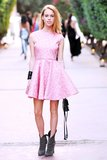 Mary Charteris's pink a-line DVF dress paired with slouchy boots is the kind of model-off-duty look we love: a girlie piece styled for the downtown girl. Source: Billy Farrell/BFAnyc.com