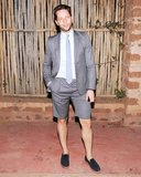 A casual weekend called for casual attire. Derek Blasberg shunned the full suit for a shorts version. Source: Billy Farrell/BFAnyc.com