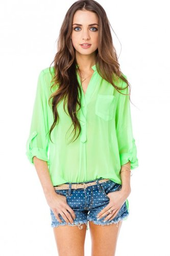 This electric lime Sosie Pure Chiffon Blouse ($35) is perfect for playing up a pair of denim cutoffs.