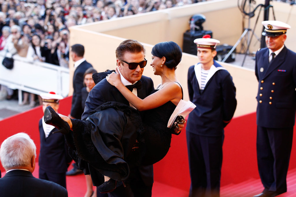 Alec Baldwin carried Hilaria Baldwin up some steps at the premiere of Moonrise Kingdom at the Cannes Film Festival in 2012.