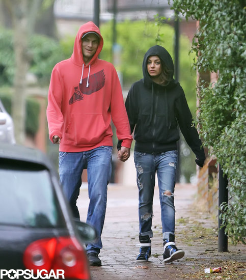 Ashton Kutcher and Mila Kunis held hands in London.