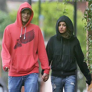 Ashton Kutcher and Mila Kunis Eating Crepes in London