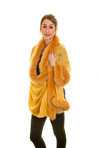 D-Shaped Fur Pashmina Shawl With Saffron Fox Fur