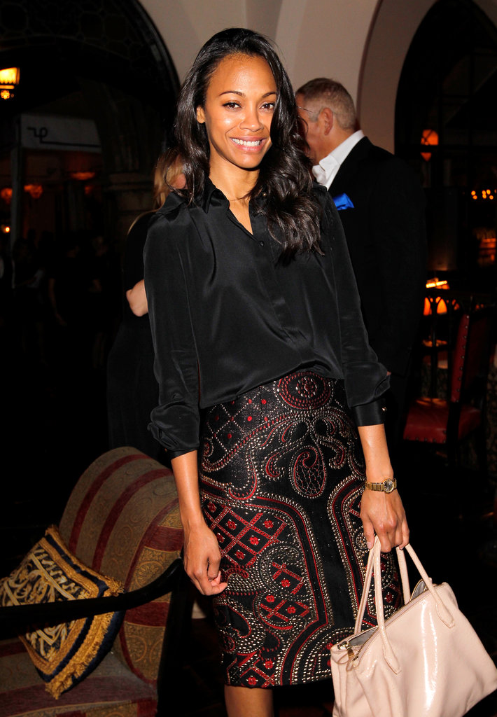 Zoe Saldana flashed a smile.