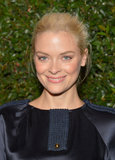 Jaime King pulled her blond hair back into a textured updo and her makeup mixed an array of neutral pink and bronze hues.