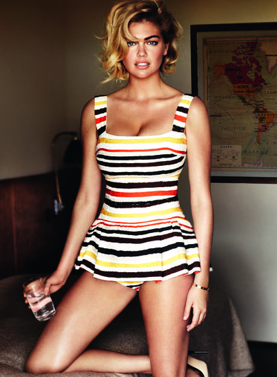 Kate Upton posed in a swimsuit for her June 2013 Vogue spread. Source: Mario Testino for Vogue