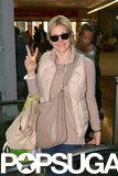 Kelly Rutherford landed in peace at Nice airport on Tuesday.