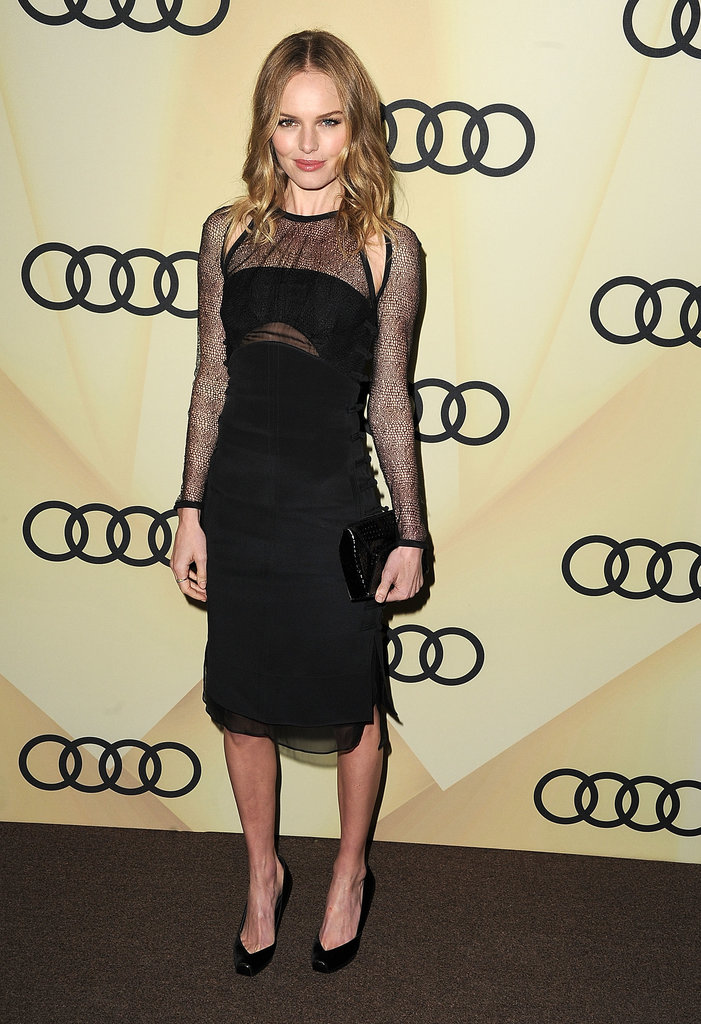 Kate Bosworth was monochrome perfection in an Emilio Pucci black dress, detailed with sexy sheer overlays and shoulder cutouts, at the Audi Golden Globe kickoff party in LA.