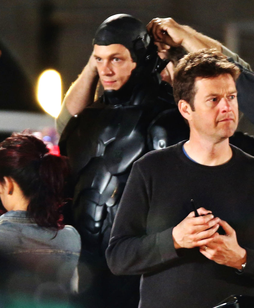 Joel Kinnaman packed on his costume for scenes from RoboCop in Vancouver on Sunday.