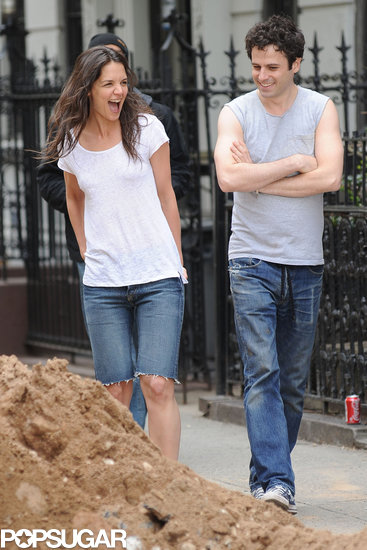 Katie Holmes and Luke Kirby laughed while filming Mania Days in NYC.