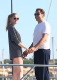 Model Lara Stone and her husband David Walliams held hands on a boat during their August 2012 trip to St. Tropez.