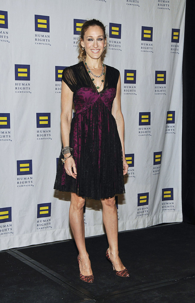 Sarah Jessica Parker wore a magenta lace-overlay Christian Dior dress with coral snakeskin Brian Atwood pumps at the 9th Annual Greater New York Human Rights Campaign Gala.