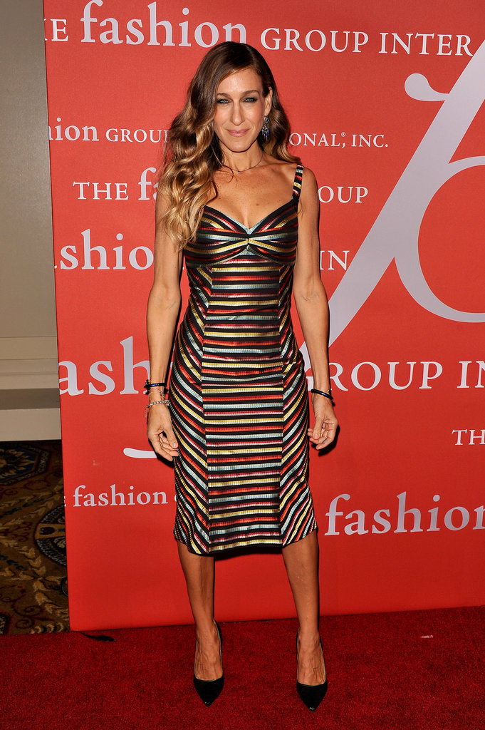 At the 29th annual Fashion Group International Night of Stars, Sarah Jessica Parker showcased her fit frame in a metallic, striped body-con dress by L'Wren Scott and Manolo Blahnik pumps.