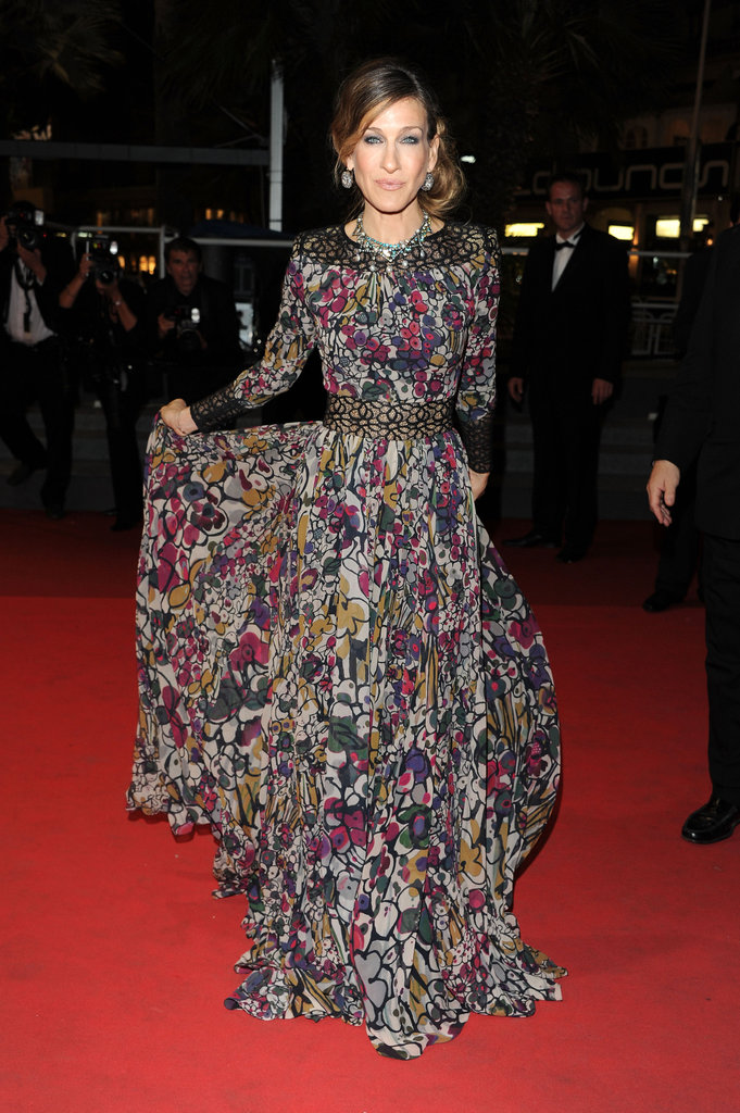 Parker hit the Cannes Film Festival red carpet in a pretty printed Elie Saab creation and a few diamond accessories.