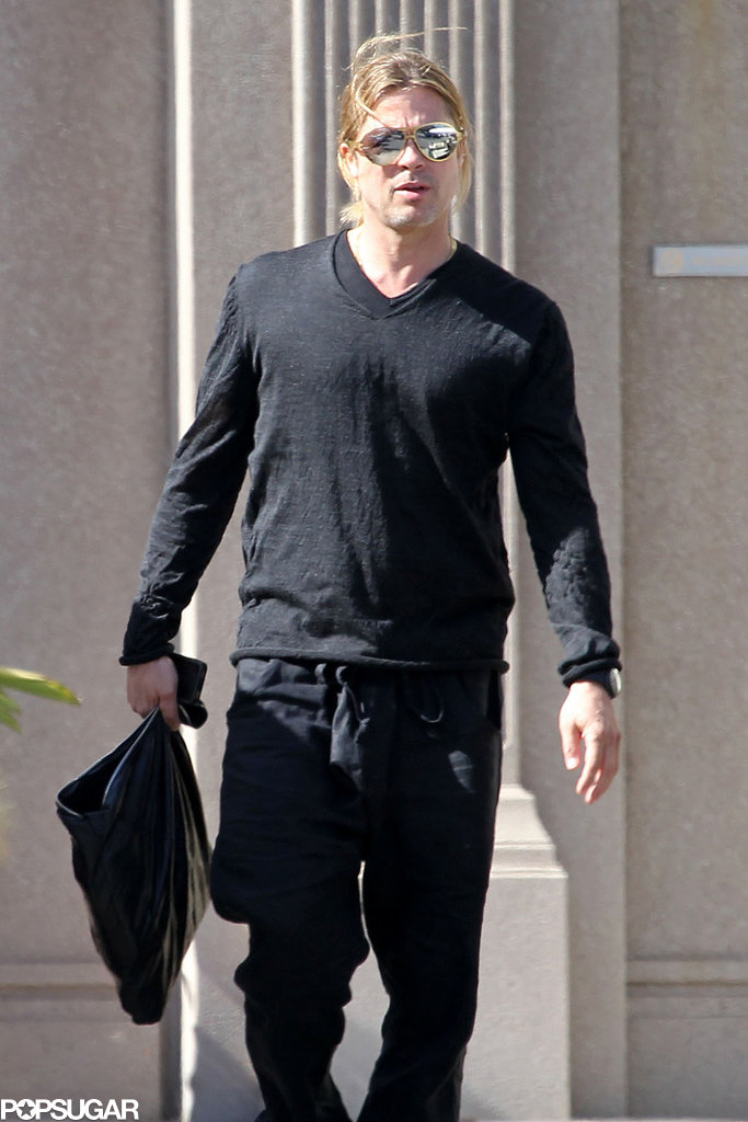 Brad Pitt walked around the Paramount Studios lot.