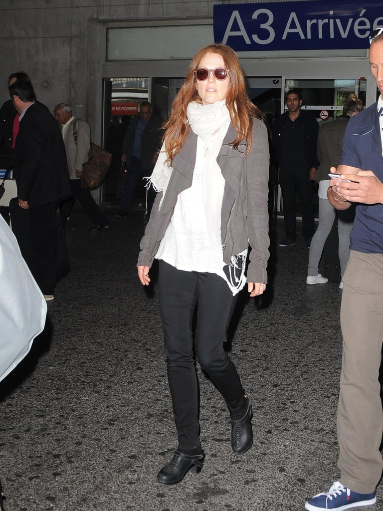 Julianne Moore wrapped up for her Tuesday landing in Nice, France.