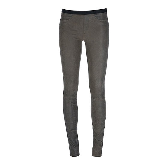 Just when I thought Helmut Lang couldn't improve on their perfect leather leggings, they go and introduce this dreamy grey-option to the mix! Such a nice departure from boring black. — Marisa, publisher  Pants, approx $978, Helmut Lang at Far Fetch