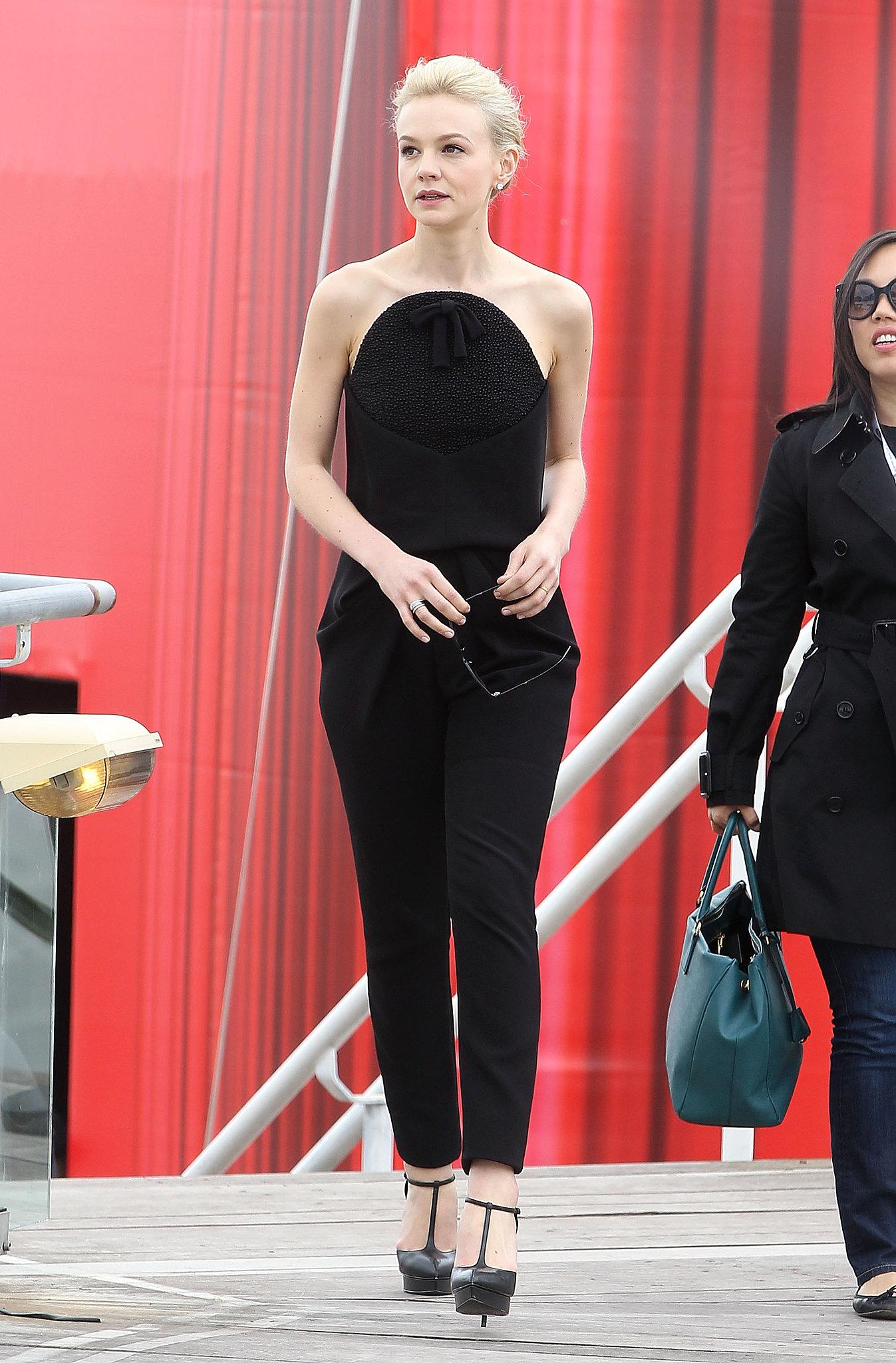 Carey Mulligan wore a black Balenciaga ensemble.