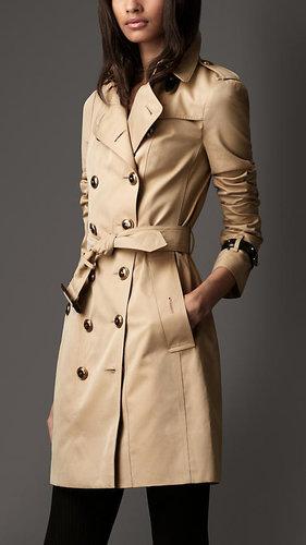 Long Cotton Gabardine Leather Detail Trench Coat