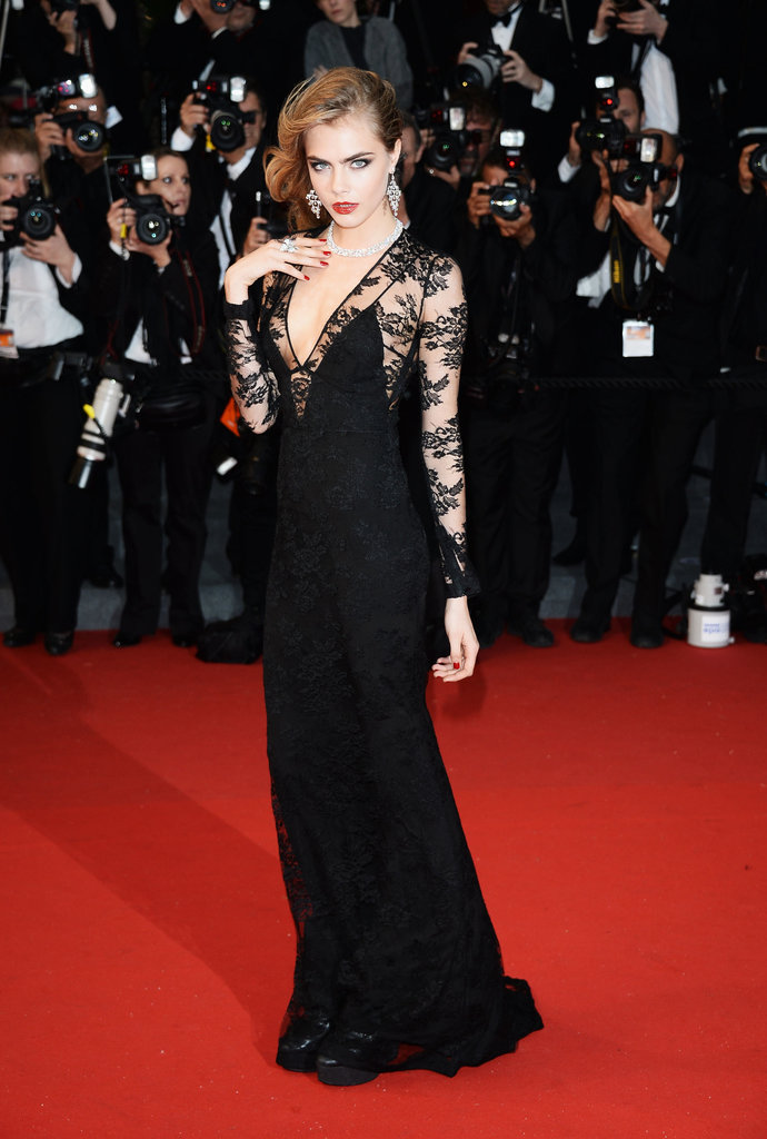 Cara Delevingne vamped it up in a black gown.