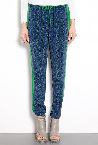 Vanessa Bruno Athé Printed Drawstring Silk Trousers
