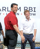 Prince Harry played a game of baseball in Harlem on Thursday.