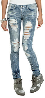 WetSeal Paint Splatter Destroyed Jean Med Wash