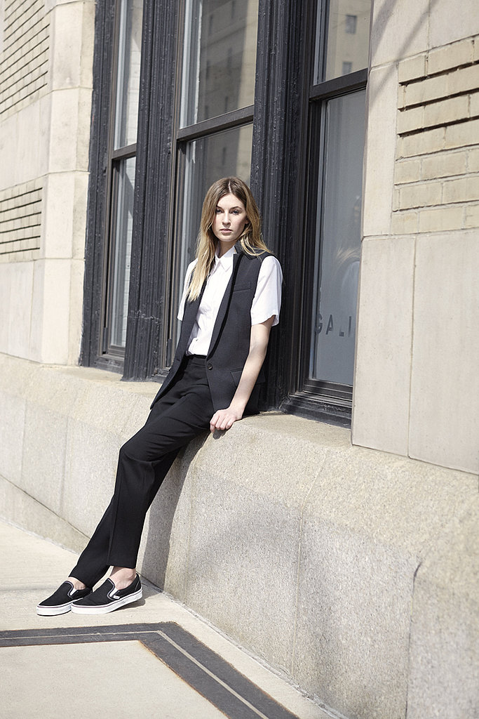 A tux-inspired vest is a cooler option than a trusty blazer. Dress it all down with a pair of slip-on sneaks.