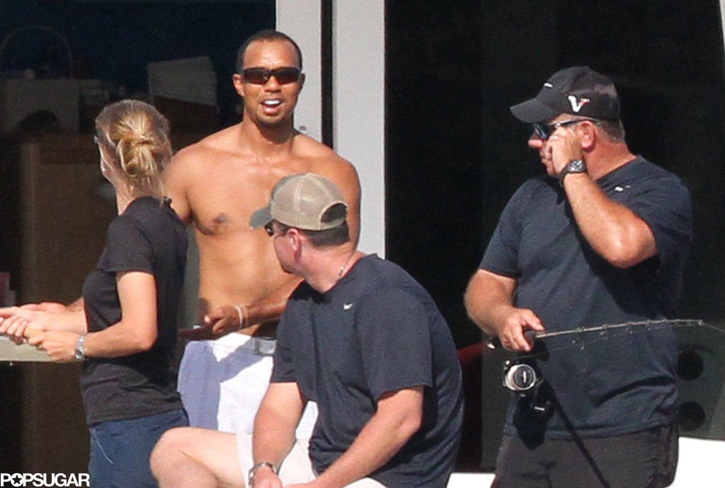 Tiger Woods went boating with friends.