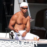 Tiger Woods fished off the side of his yacht.