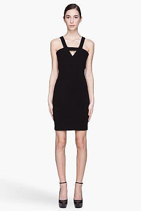 MUGLER Black Stretch Jersey Cut Out Dress